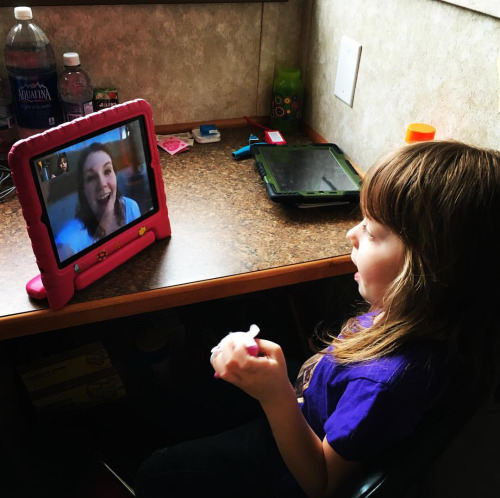 A girl on a video call
