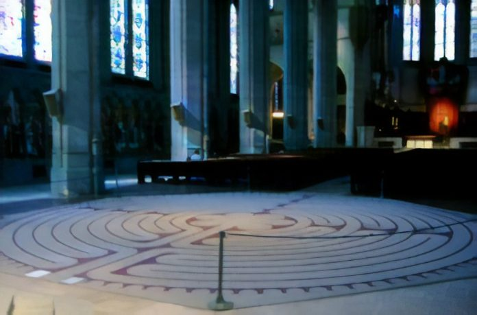 The indoor labyrinth at San Francisco's Grace Cath