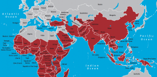 Map of countries where malaria is endemic