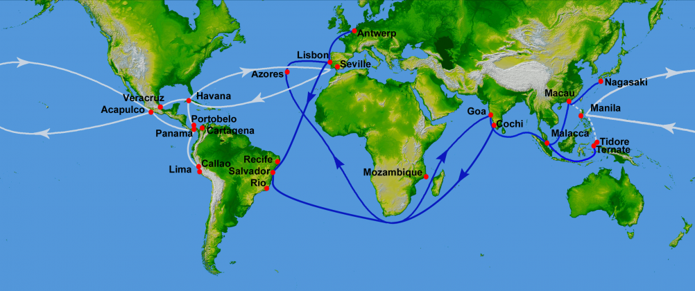 16th century Portuguese and Spanish trade routes