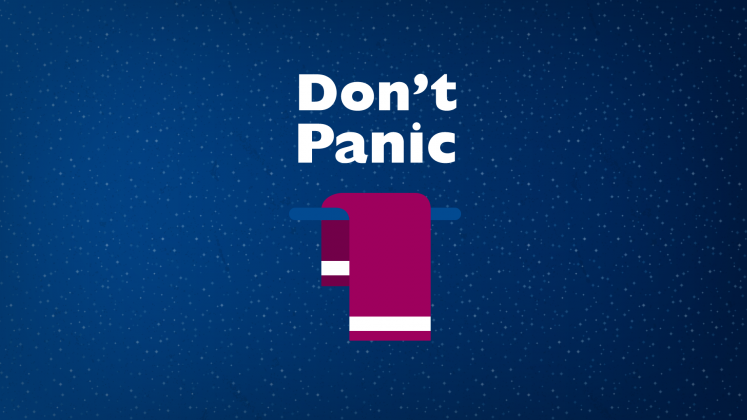 "A towel and the slogan ""Don't Panic"""