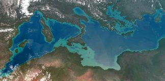 A map of the Mediterranean, showing where new land would create Atlantropa
