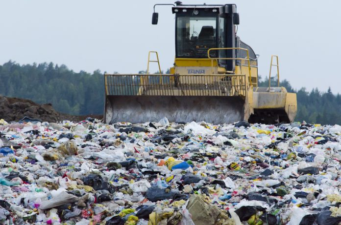 Plastic waste in a landfill