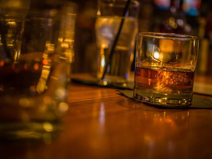 A glass of bourbon