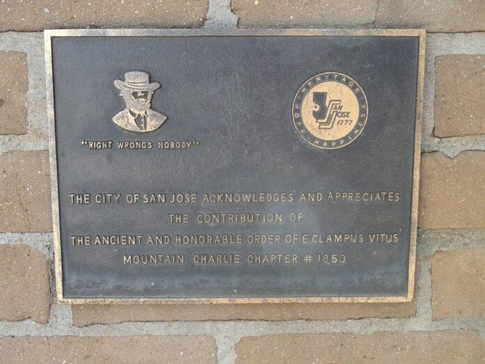 A plaque honoring E Clampus Vitus