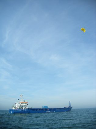 A ship using a kite sail