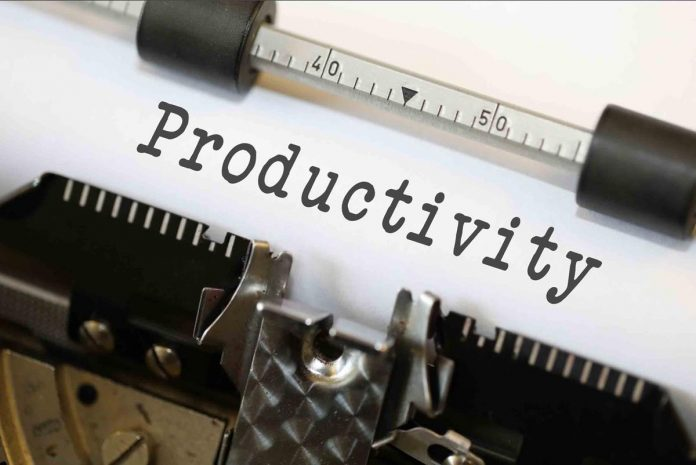 The word Productivity on a typewriter