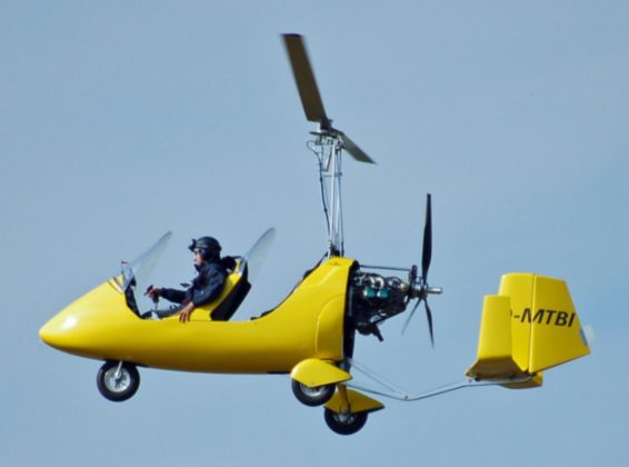 An autogyro in flight