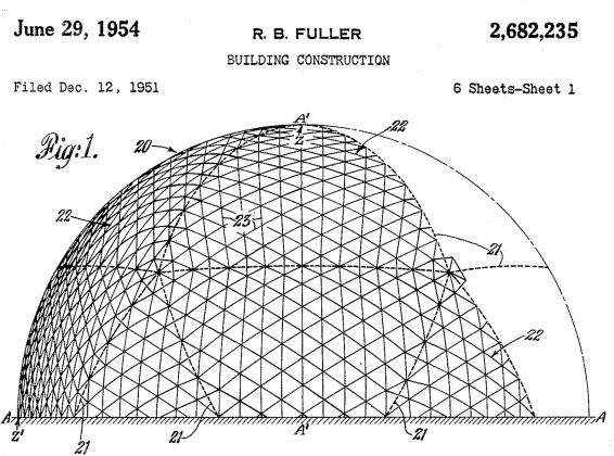 Illustration of a geodesic dome