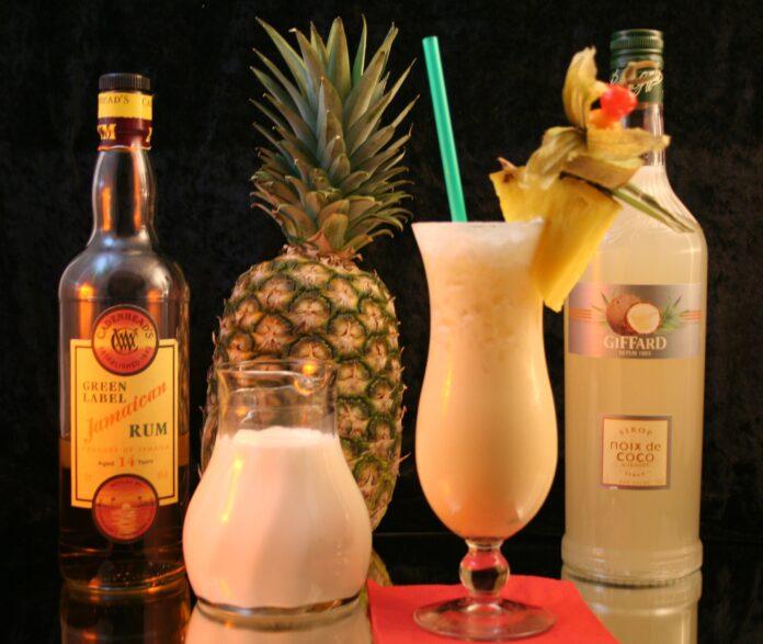 Piña colada drink and ingredients