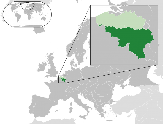 Map showing the Walloon Region within Belgium