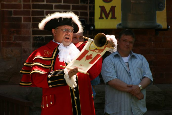 A town crier in Kingston, Ontario