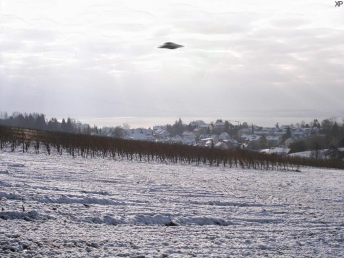 A photograph of a (fake) UFO