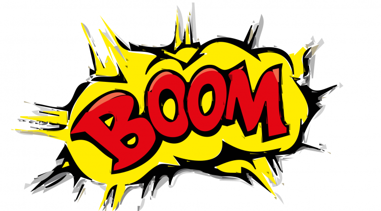 The word BOOM