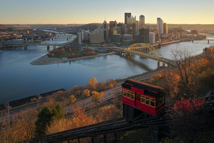 Downtown Pittsburgh from Duquesne Incline in the morning