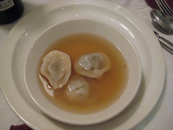 Meat-filled kreplach in clear chicken soup for Rosh Ha'Shana