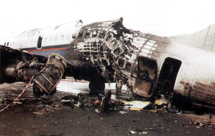 Burnt wreckage of British Airtours Flight 28M, which inspired Maurice Ward to invent Starlite