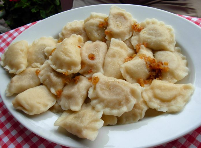 A plate of pierogi