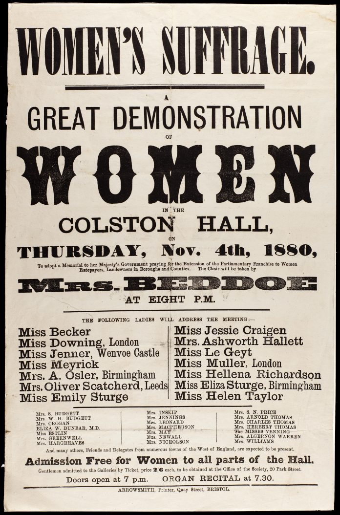 Sign for Great Demonstration of Women, 1880-11-04