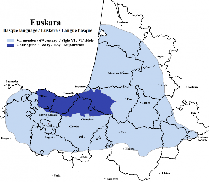 Euskara usage in the 6th century and today