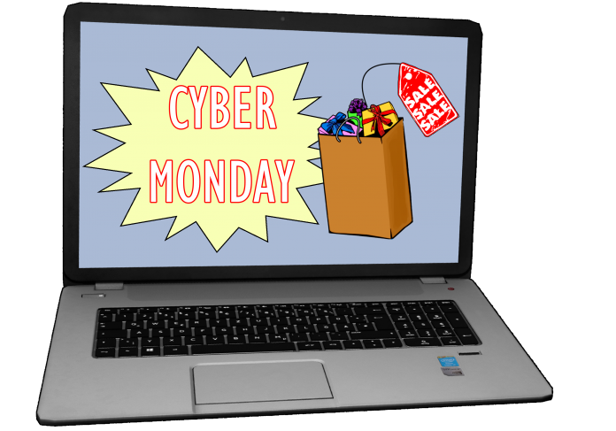 Cyber Monday graphic on laptop screen
