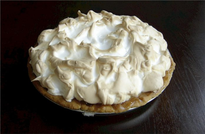 A meringue-topped pie that, if you don't look too closely, might sort of resemble a Bavarian cream pie