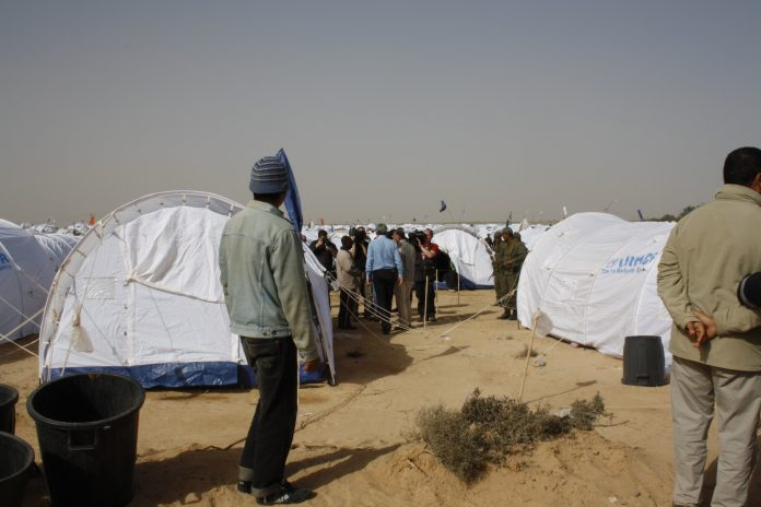 Transit camp for migrants near the Tunisian border with Libya