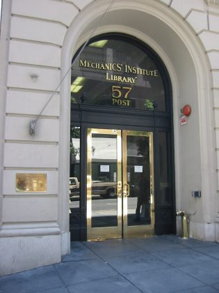Entrance to the Mechanics' Institute Library in San Francisco