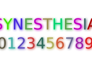 An example how a synesthetic person might associate a color to letters and numbers