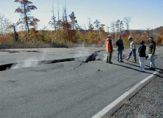 Cracked highway from subsurface coal fire