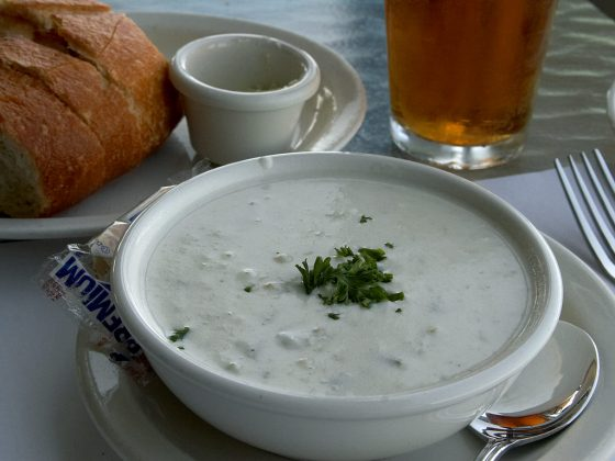 A bowl of New England clam chowder