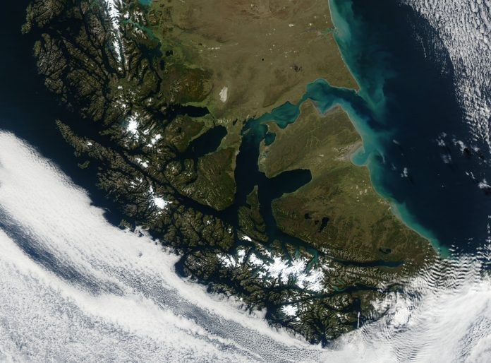 Satellite image of Tierra del Fuego