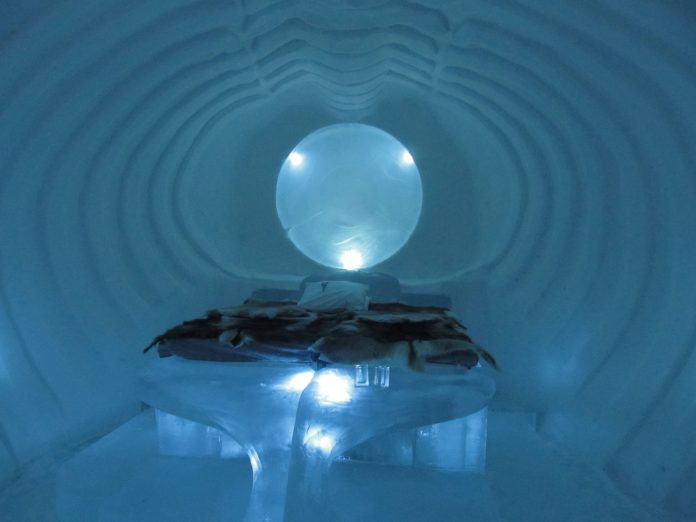 A 2012-13 room in the Icehotel in Jukkasjärvi, Sweden