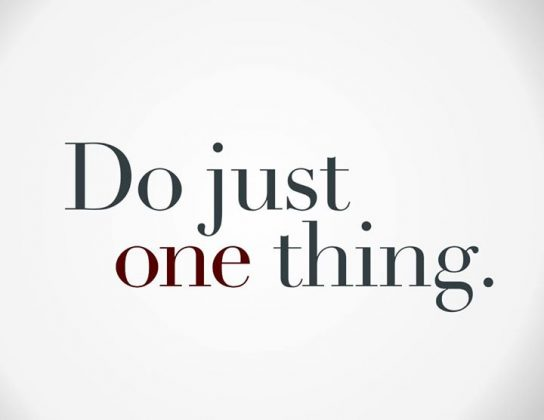 """Do just one thing"" graphic"