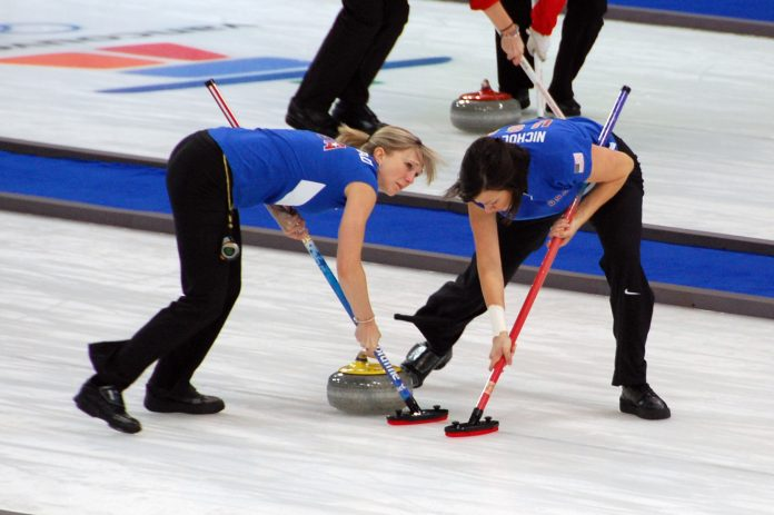 The U.S. women's curling team competing at the 2010 Olympics