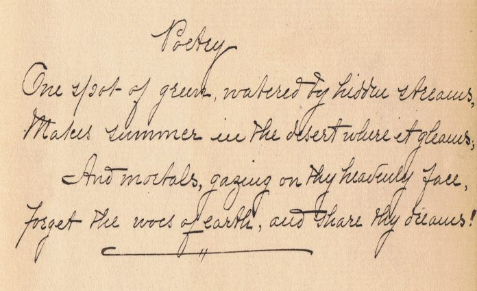 Handwritten copy of