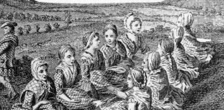 Detail of an 18th century engraving of Scotswomen waulking (fulling) cloth, and singing.