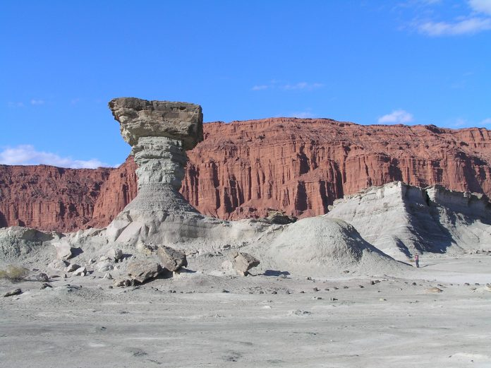 Ischigualasto or Moon Valley, the mushroom formation, Province of San Juan, Argentina