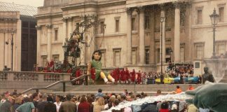 "The Little Girl Giant, from ""Royal de Luxe"" (on parade at Trafalgar Square in London, in May 2006)"