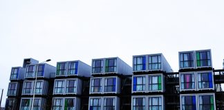 Shipping containers as apartment buildings for students, Le Havre (France, Normandy)
